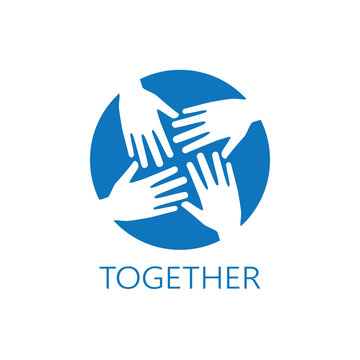 Four hands together icon logo vector graphic design.