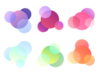 Set of multicolored round elements. Objects separate from the background. Vector element for banners, postcards, articles and your design