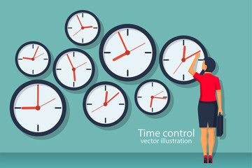 Time control concept. Organization of process. Vector illustration flat design. Isolated on background. Businesswoman standing at wall with clock adjusts time. Wall mural