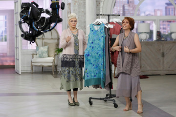 Host Sharon Faetsch sells products live on the air at the QVC Studio Park in West Chester, Pennsylvania