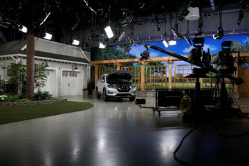 A studio set is seen at the QVC Studio Park in West Chester, Pennsylvania