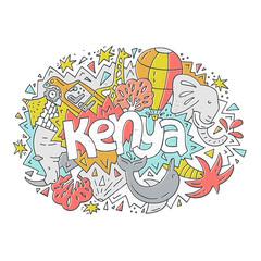 Kenya symbols illustration