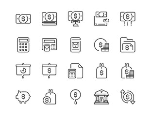 Simple line icon set of Banking and Finance for website mobile app and more .Editable Stroke.