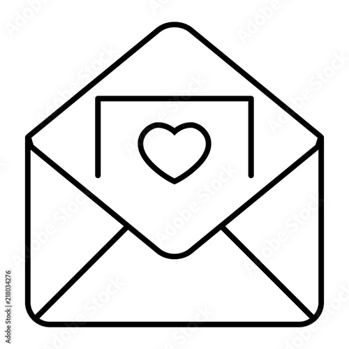 Envelope With Invitation Card Thin Line Icon Letter Vector