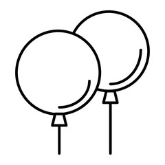 Party balloons thin line icon. Two balloons vector illustration isolated on white. Balloon outline style design, designed for web and app. Eps 10.