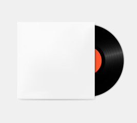 Vintage vinyl records out of the box template. Empty gramophone cover mockup.