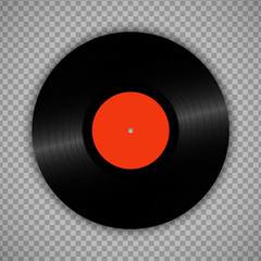 Retro vinyl record isolated on transparent. Vintage 1980s muscal album storage illustration.