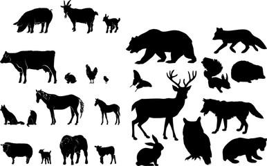 森の動物たちのシルエット
