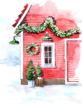 Original watercolor painting. Christmas card. Snow-covered mountains. Red house with Christmas decoration