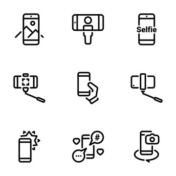 Set of black vector icons, isolated against white background. Illustration on a theme Selfie