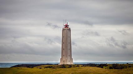 White lighthouse on the extreme west coast of Iceland.