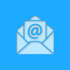 E-mail address paper cut out icon