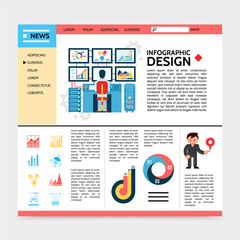 Flat Business Infographic Website Template