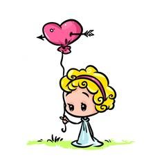 minimalism little girl balloon heart love cartoon illustration