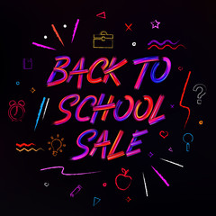 Back to School Sale background. Brushstrokes lettering for banners, posters, flyers. Color oil or acrylic paint letters. Pencil hand drawn elements and icons.