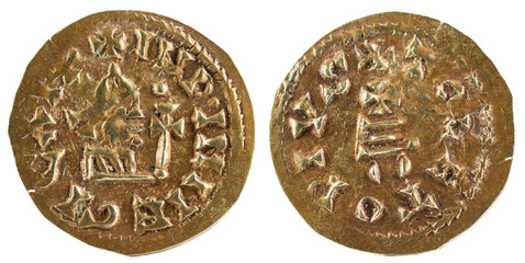 Ancient Visigothic gold coin of the king Egica. Tremissis. Coined in Toledo.