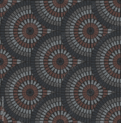 European Fan Pattern In Patio Paving Variegated Texture Stock Photo