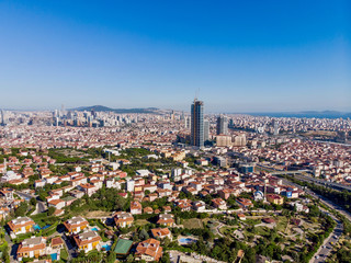 Aerial View of Unplanned Urbanization Uskudar Camlica Highway in Istanbul Turkey