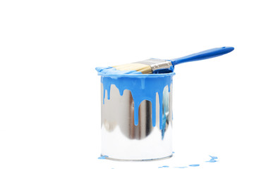 open, painted bucket and paintbrush on a white backdrop. Wall mural