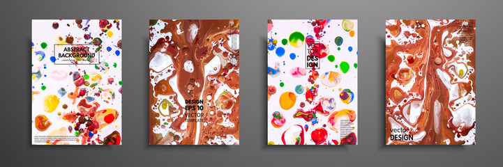 Hand drawn collection of card made by acrylic homemade texture. Liquid colorful texture. Fluid art. Abstract painting templates. Design for banner, poster, cover, invitation, placard, brochure, flyer