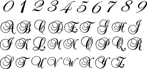 数字とアルファベットのシルエット