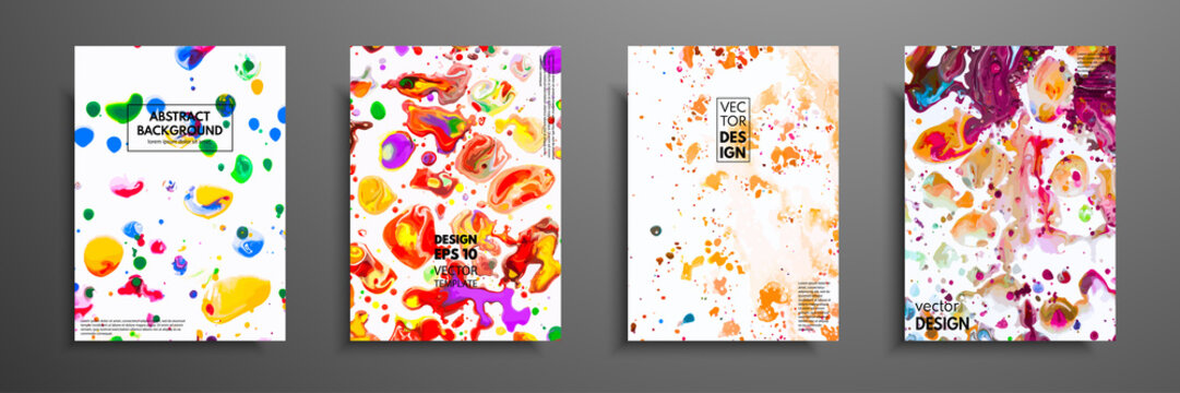 Set of colorful paint design templates for brochures, flyers, mobile technologies, applications, and online services, typographic emblems, logo, banners and infographic. Abstract modern backgrounds.
