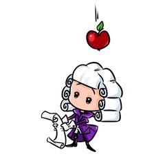Scientist Newton apple gravity cartoon illustration isolated image minimalism character