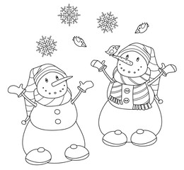 Vector   happy snowmen cartoons, black  silhouette isolated on white for coloring.