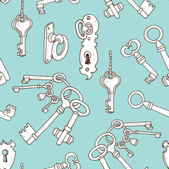 Vintage keys vector seamless background, hand drawn pattern