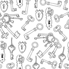 Vintage keys vector seamless background, hand drawn pattern isolated on white background