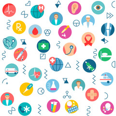 Seamless pattern medical health care, medicine service hospital doctor background. Medicine icon pills, capsules, vitamins medical tablets