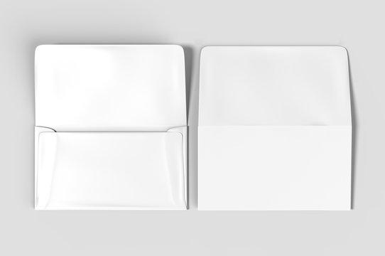 Blank white realistic remittance envelope mock up.