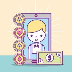 casino croupier male smartphone banknote application online vector illustration