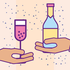 hands holding champagne bottle and glass cup vector illustration