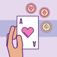 hand holding ace poker card chips casino vector illustration