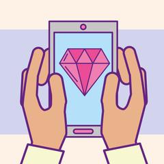 hand holding smartphone diamond app casino vector illustration cartoon