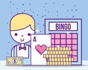casino croupier male ace card bill bingo coins vector illustration