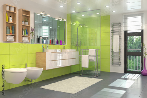 Modernes Badezimmer in weiß und grün mit Dusche, WC, Bidet, zwei ...
