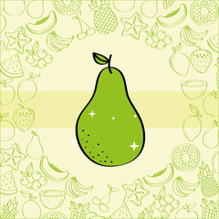 pear fruits nutrition background pattern vector illustration