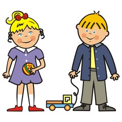 Happy kids, girl, boy and toys, vector icon