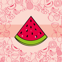 watermelon fruits nutrition background pattern vector illustration