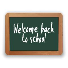 Vector Welcome Back to School on Green Blackboard