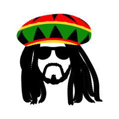 Jamaican rasta hat with dreadlocks and beard. Reggae style avatar. Isolated on white background. Vector.
