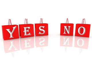 Yes and no concept on red shopping bags