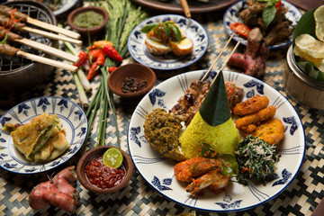 Different indonesian food dishes. Various indonesian bali food Fototapete