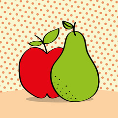 fresh apple and pear on dotted background vector illustration