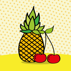 fresh pineapple and cherries on dotted background vector illustration