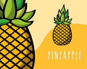 pineapples fruit tropical fresh natural on colored background vector illustration