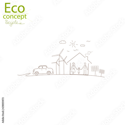 Environmentally Friendly World Creative Drawing Ecological Concepts
