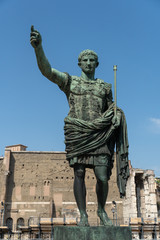 Bronze statue of Roman Emperor Augustus Caesar, or Octavian, Rome's first emperor, close to the Forum of Augustus